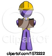 Poster, Art Print Of Purple Construction Worker Contractor Man Reading Book While Standing Up Facing Viewer
