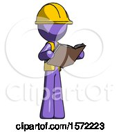 Purple Construction Worker Contractor Man Reading Book While Standing Up Facing Away