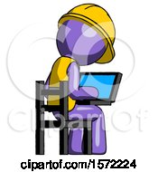 Purple Construction Worker Contractor Man Using Laptop Computer While Sitting In Chair View From Back