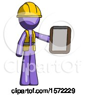 Purple Construction Worker Contractor Man Showing Clipboard To Viewer