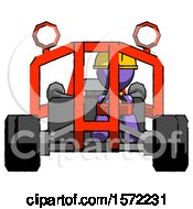 Purple Construction Worker Contractor Man Riding Sports Buggy Front View