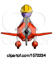 Purple Construction Worker Contractor Man In Geebee Stunt Plane Front View