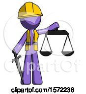 Purple Construction Worker Contractor Man Justice Concept With Scales And Sword Justicia Derived