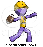 Purple Construction Worker Contractor Man Throwing Football