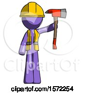 Purple Construction Worker Contractor Man Holding Up Red Firefighters Ax