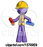 Purple Construction Worker Contractor Man Red Pill Or Blue Pill Concept