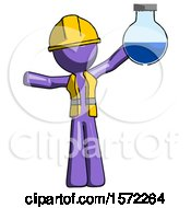 Purple Construction Worker Contractor Man Holding Large Round Flask Or Beaker
