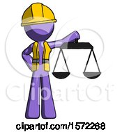 Purple Construction Worker Contractor Man Holding Scales Of Justice