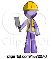 Purple Construction Worker Contractor Man Holding Meat Cleaver