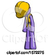 Purple Construction Worker Contractor Man Depressed With Head Down Turned Left