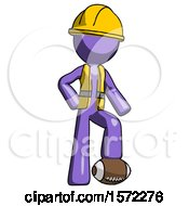 Purple Construction Worker Contractor Man Standing With Foot On Football