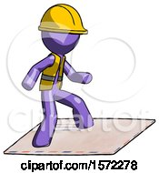 Purple Construction Worker Contractor Man On Postage Envelope Surfing