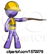 Purple Construction Worker Contractor Man Pointing With Hiking Stick
