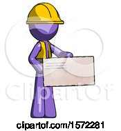 Purple Construction Worker Contractor Man Presenting Large Envelope