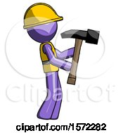 Purple Construction Worker Contractor Man Hammering Something On The Right