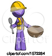 Purple Construction Worker Contractor Man With Empty Bowl And Spoon Ready To Make Something