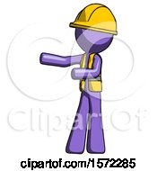 Purple Construction Worker Contractor Man Presenting Something To His Right