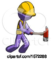 Purple Construction Worker Contractor Man With Ax Hitting Striking Or Chopping