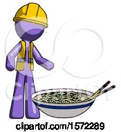 Purple Construction Worker Contractor Man And Noodle Bowl Giant Soup Restaraunt Concept