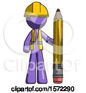 Purple Construction Worker Contractor Man With Large Pencil Standing Ready To Write