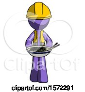 Purple Construction Worker Contractor Man Serving Or Presenting Noodles