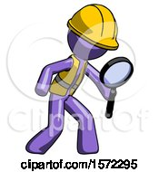 Purple Construction Worker Contractor Man Inspecting With Large Magnifying Glass Right