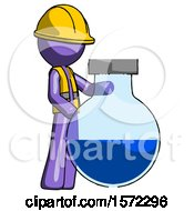 Purple Construction Worker Contractor Man Standing Beside Large Round Flask Or Beaker