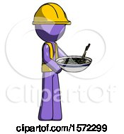 Purple Construction Worker Contractor Man Holding Noodles Offering To Viewer