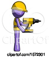 Purple Construction Worker Contractor Man Using Drill Drilling Something On Right Side