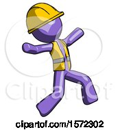 Purple Construction Worker Contractor Man Running Away In Hysterical Panic Direction Right