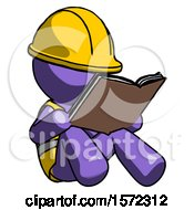 Poster, Art Print Of Purple Construction Worker Contractor Man Reading Book While Sitting Down