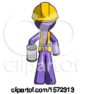 Purple Construction Worker Contractor Man Begger Holding Can Begging Or Asking For Charity