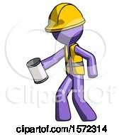 Purple Construction Worker Contractor Man Begger Holding Can Begging Or Asking For Charity Facing Left