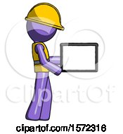 Purple Construction Worker Contractor Man Show Tablet Device Computer To Viewer Blank Area
