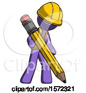 Purple Construction Worker Contractor Man Writing With Large Pencil