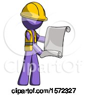 Purple Construction Worker Contractor Man Holding Blueprints Or Scroll