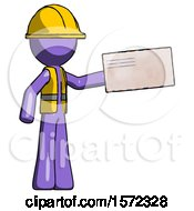Purple Construction Worker Contractor Man Holding Large Envelope