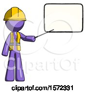 Purple Construction Worker Contractor Man Giving Presentation In Front Of Dry Erase Board