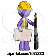 Purple Construction Worker Contractor Man Holding Large Envelope And Calligraphy Pen