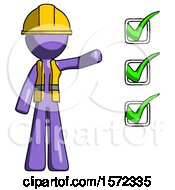 Purple Construction Worker Contractor Man Standing By List Of Checkmarks