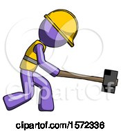 Purple Construction Worker Contractor Man Hitting With Sledgehammer Or Smashing Something