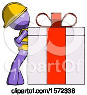 Purple Construction Worker Contractor Man Gift Concept Leaning Against Large Present
