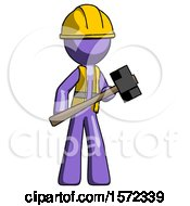 Purple Construction Worker Contractor Man With Sledgehammer Standing Ready To Work Or Defend