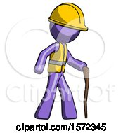 Purple Construction Worker Contractor Man Walking With Hiking Stick