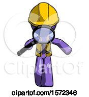 Purple Construction Worker Contractor Man Looking Down Through Magnifying Glass