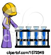 Purple Construction Worker Contractor Man Using Test Tubes Or Vials On Rack