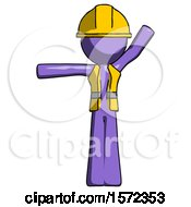 Purple Construction Worker Contractor Man Directing Traffic Left