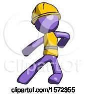Purple Construction Worker Contractor Man Karate Defense Pose Left