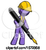 Purple Construction Worker Contractor Man Drawing Or Writing With Large Calligraphy Pen