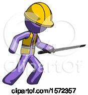 Purple Construction Worker Contractor Man Stabbing With Ninja Sword Katana